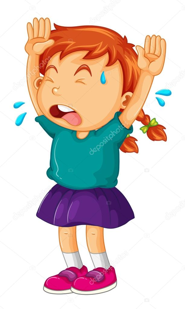 613x1023 Little Girl Crying With Her Arms Up Stock Vector