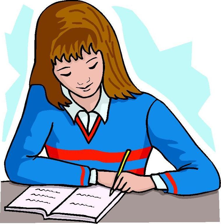 758x768 Girl Writing Book Clipart