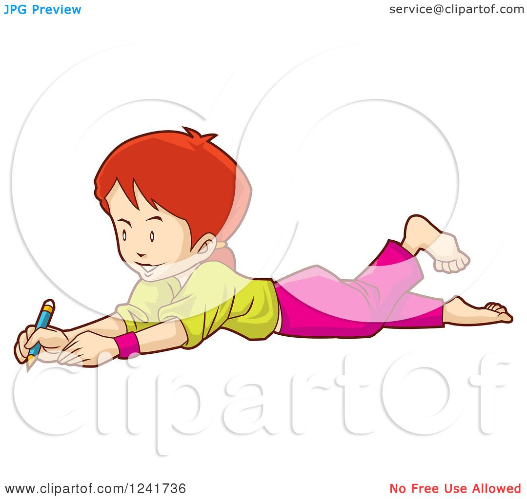 1080x1024 Clipart of a Girl Drawing on the Floor