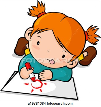 350x369 Girl drawing clipart collection