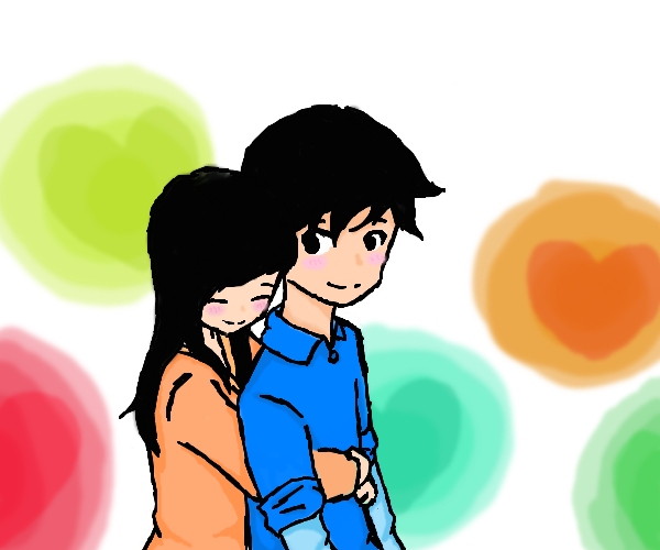600x500 Girl Hugs Boy From Behind By Mssketcher0015