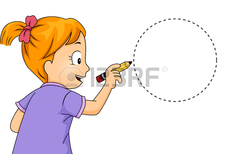 450x306 Illustration Of A Little Girl Drawing A Nonagon Stock Photo