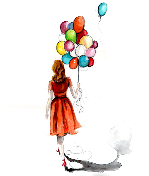 480x569 balloon drawing fashion illustration ArtIllustration