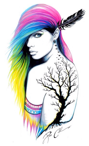 371x604 Beautiful Art! Love The Hair!!! And Obviously The Tattoo @rt