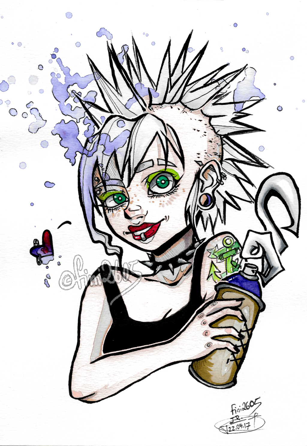 1024x1487 Punk Girl Drawing By Fini2605