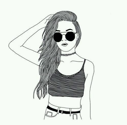Girl Drawing Black And White