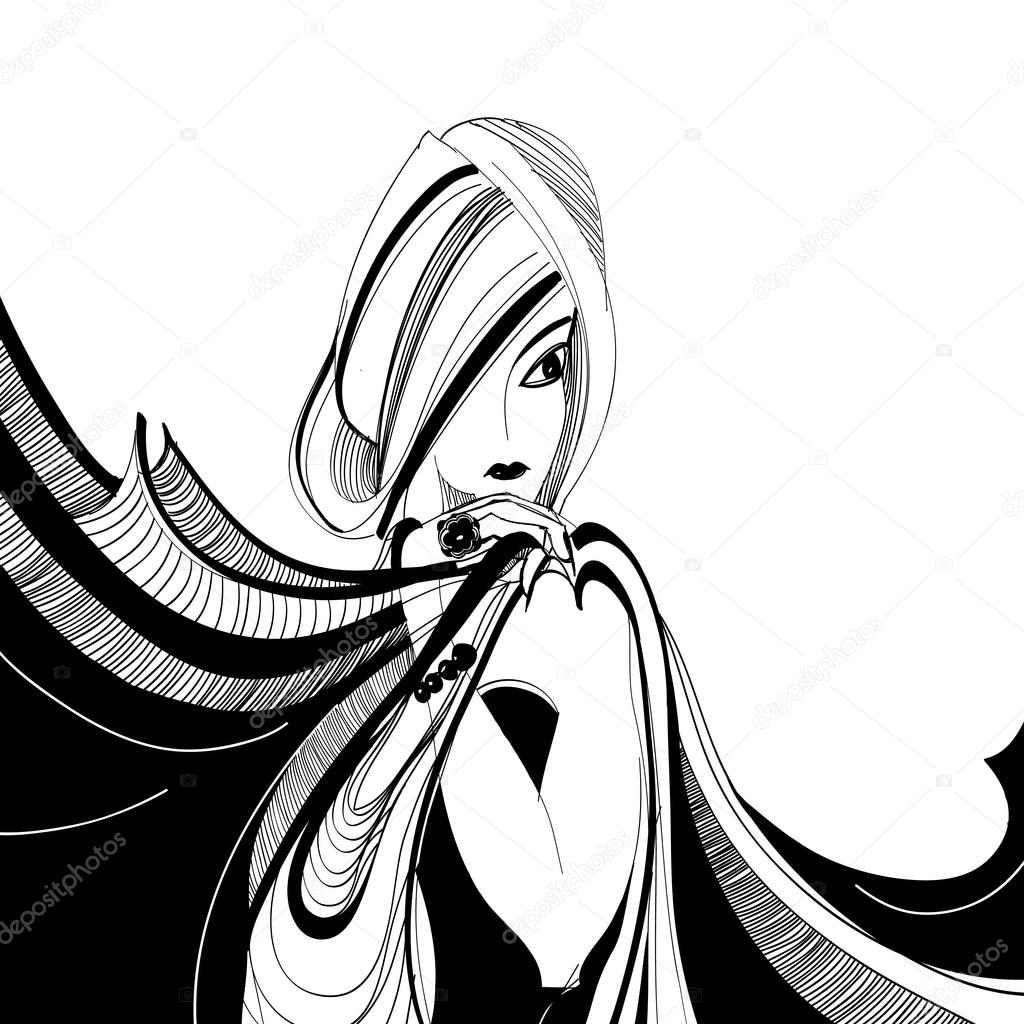 1024x1024 Stylized black and white drawing of beautiful girl with scarf