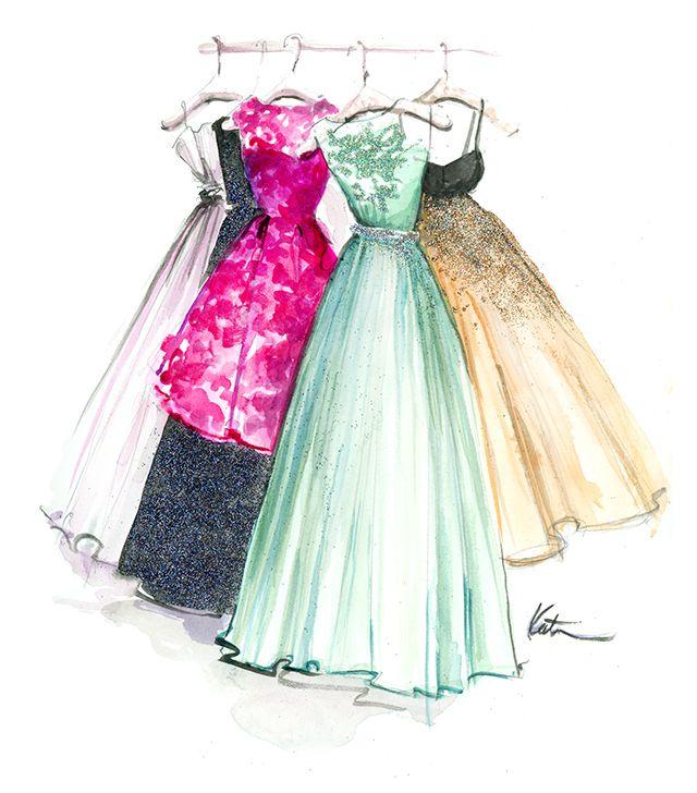 640x728 Dresses, Kleider, Haljine, Painting, Zeichnung, Crtanje Free