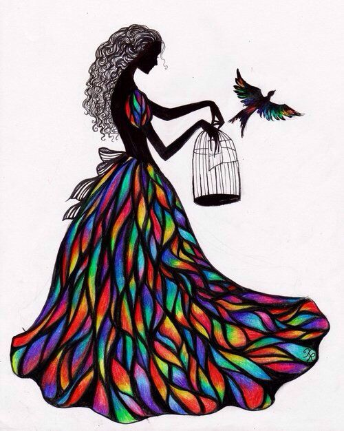 500x626 Silhouette Of Girl In Stained Glass Dress With Birdcage Bird Art
