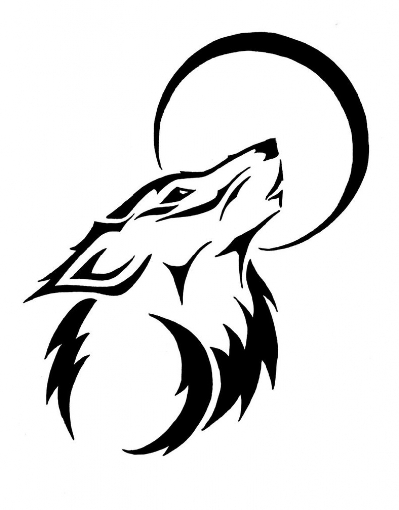801x1024 Drawing Wolf Cartoon Drawing Easy With Tribal Wolf Drawing Easy