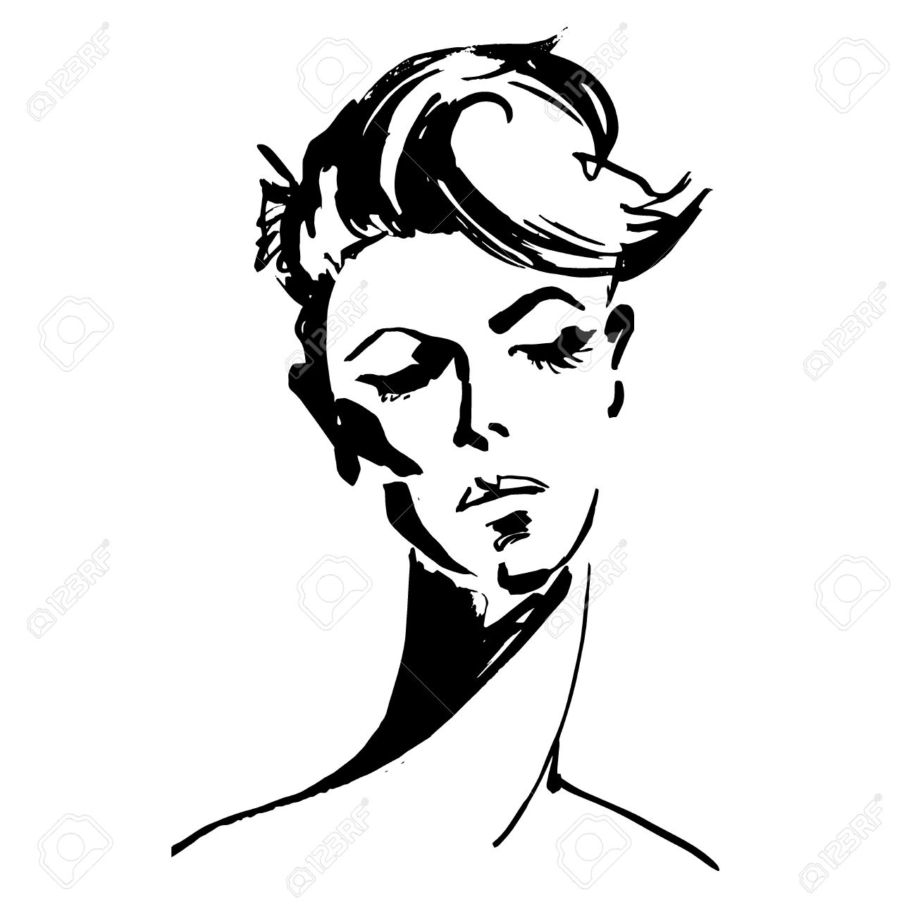 Sketch 1300x1300 close up portrait of young woman female face with short hair