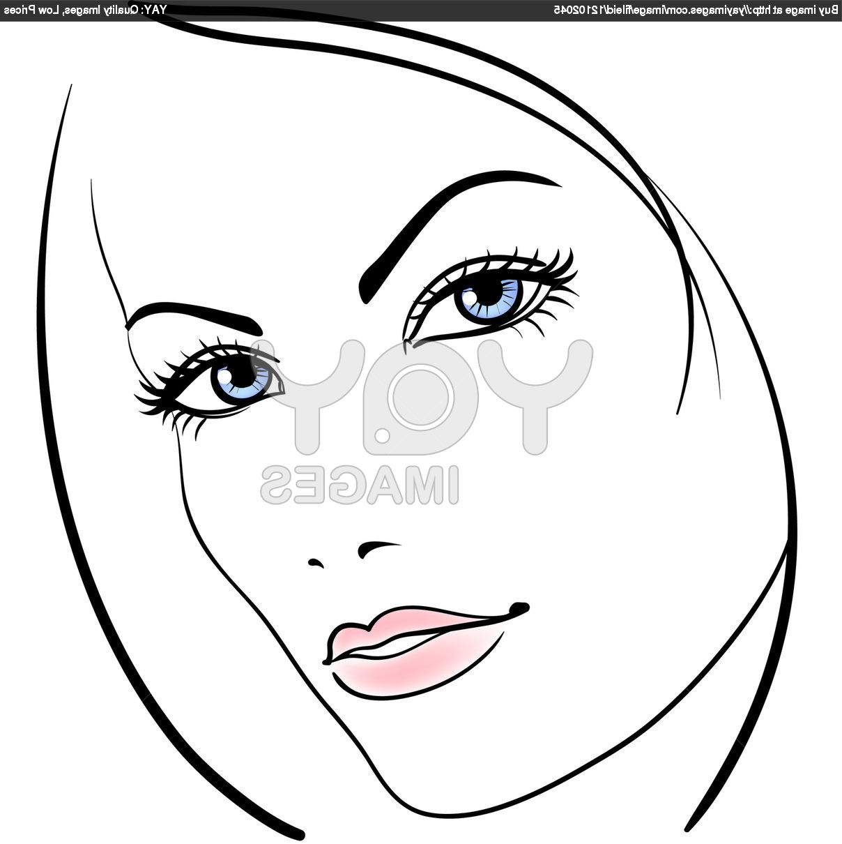 1208x1210 Girls Face Simple Drawing