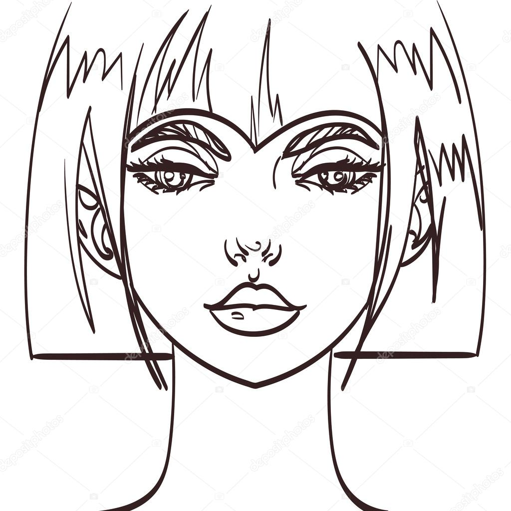 1024x1024 Vector Girl Cute Face Drawing. Isolated Eps 10 Stock Vector