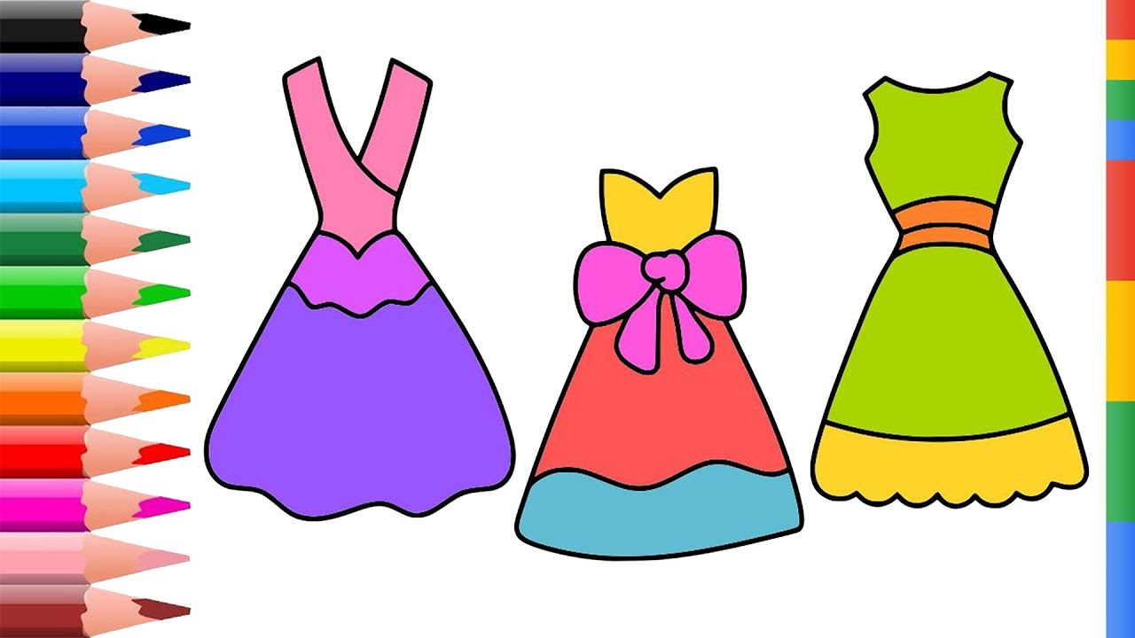 1280x720 Dress Coloring Pages Girl How To Draw Dress, Clothes