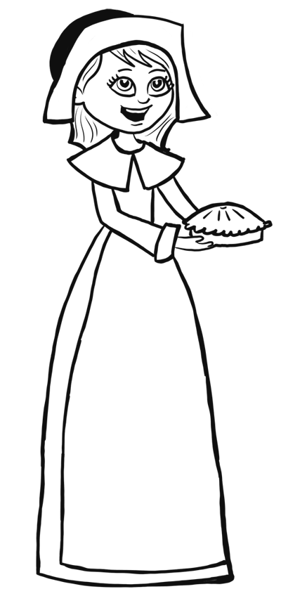 400x848 How To Draw Cartoon Pilgrim Girl For Thanksgiving Step By Step