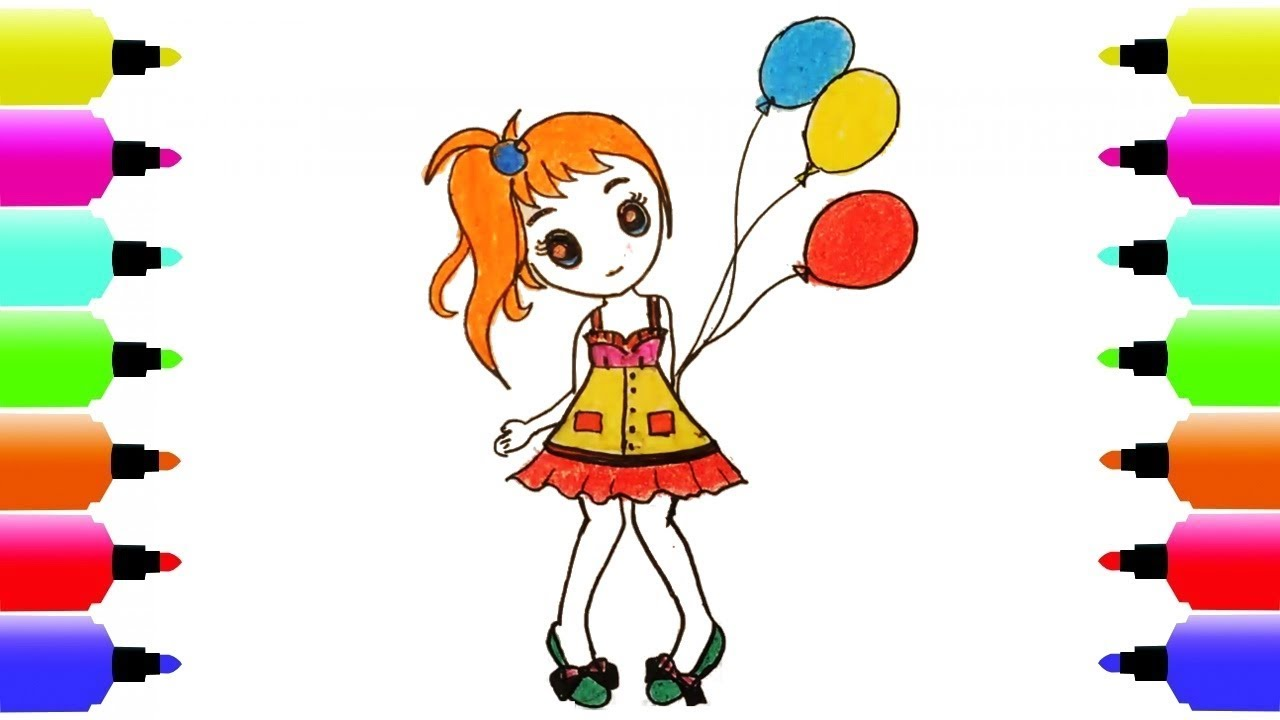 1280x720 How To Draw Cute Girl And Coloring Pages Kids Art Colors