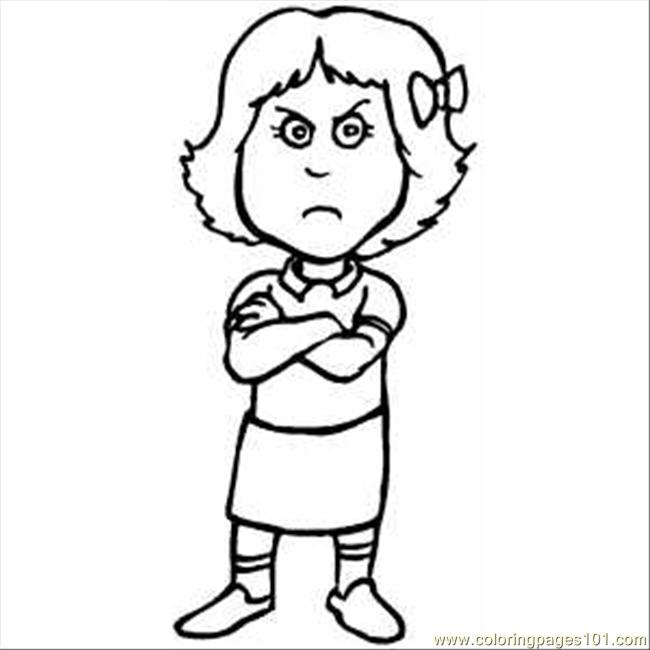 650x650 Pouting Girl Printable Coloring Page For Kids And Adults