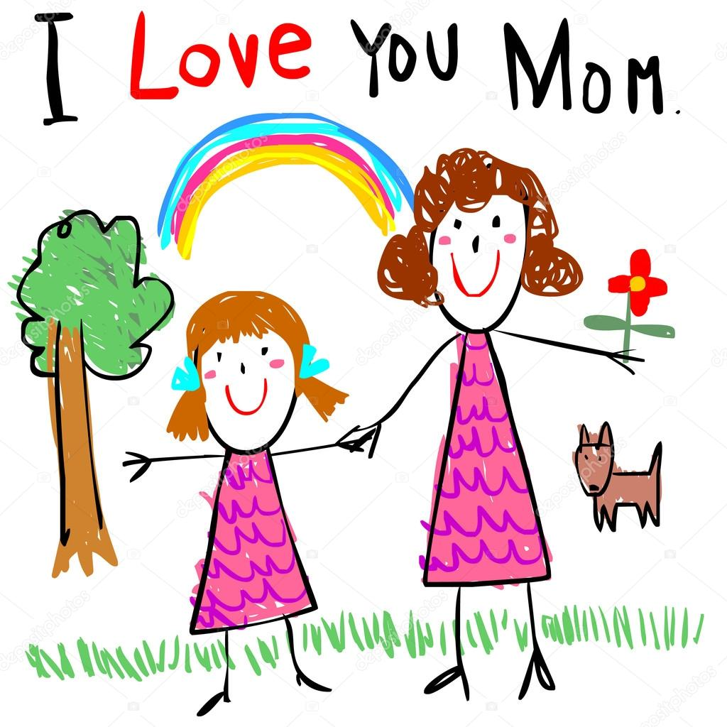 1024x1024 Kid Love Mom Drawing Picture Vector Illustration Stock Vector