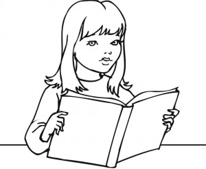 300x246 Reading Book Coloring Pages For Girls And Kids