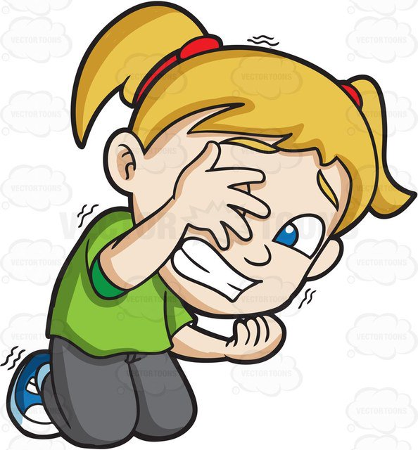 594x640 A Very Afraid Girl Trying To Hide Herself From Danger Cartoon