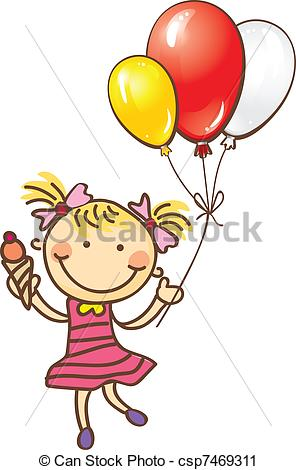 296x470 Drawn Little Girl Balloon Clipart