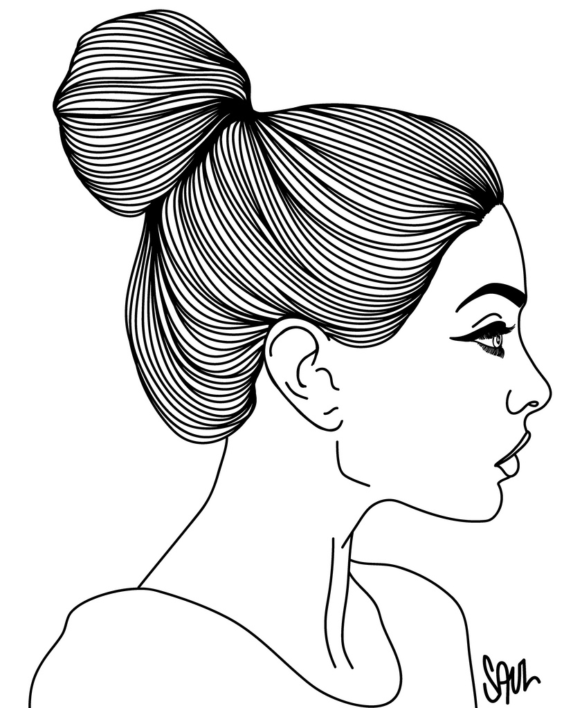 841x1024 Girl Side Face Drawing