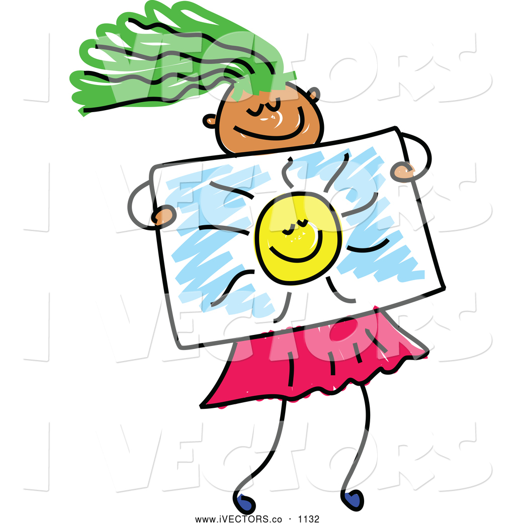 1024x1044 Vector Graphic Of A Green Haired Girl Holding A Sun Drawing By