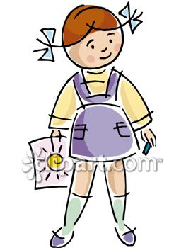 263x350 Clipart Picture Of A Little Girl Holding A Sun Drawing
