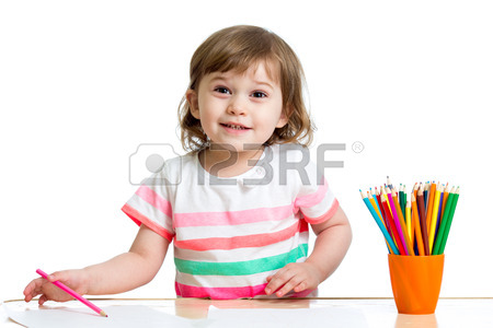 450x300 Baby Girl Drawing Making By Hands Stock Photo, Picture
