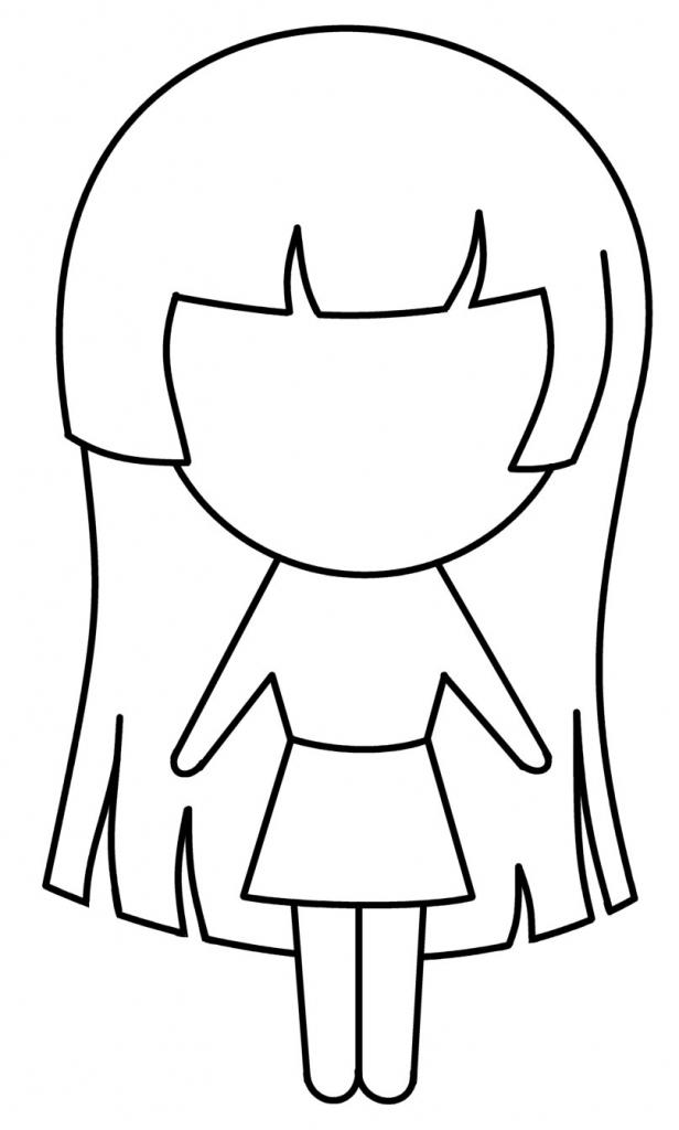 616x1024 Cartoon Girl Drawing