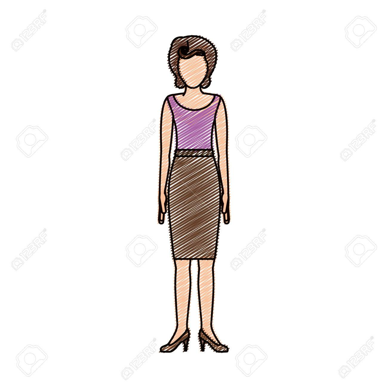 1300x1300 Color Pencil Drawing Of Woman With Blouse And Skirt Retro Style