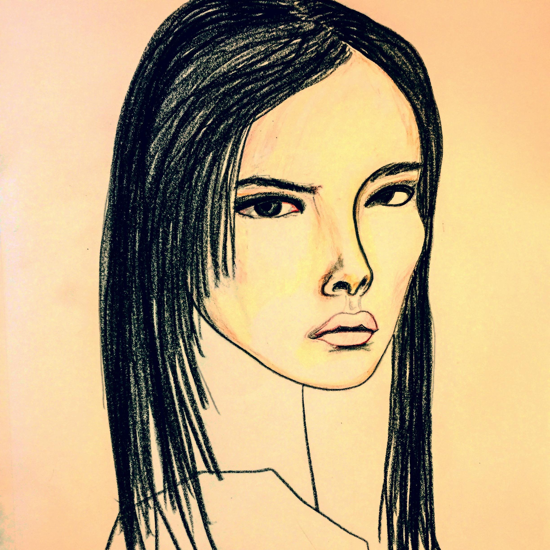 2448x2448 Girl With Black Hair And High Cheekbones (Isadora Harper, Pencil