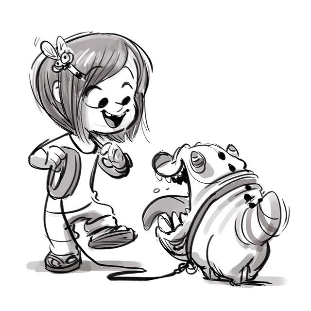 640x640 Little Girl With A Little Pet Monster. (Artist Brandon Jeffords
