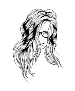 247x300 Illustration Of A Sketch Of A Girl Writing On A White Background