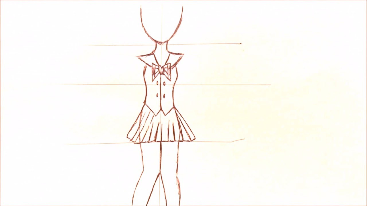 1280x720 Sketch Of Whole Body Of Girl Drawing A Basic Full Body Animemanga