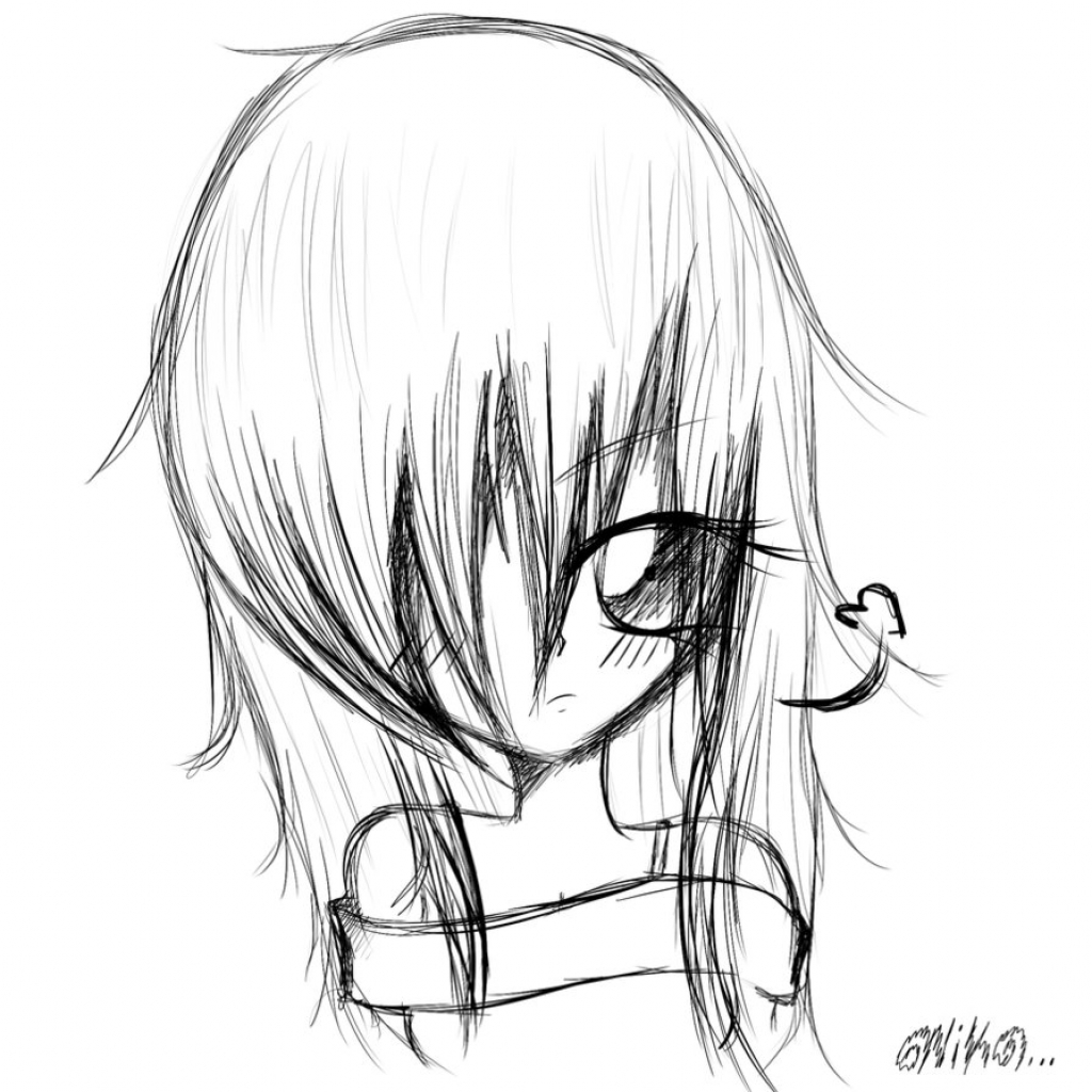 1024x1024 anime emo sketch a drawing of an emo anime girl drawing