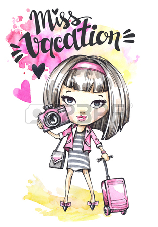 314x450 Hand Drawn Bright Illustration. Watercolor Card With Rocker Girl