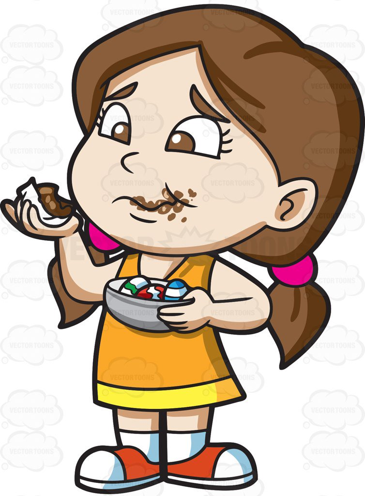 Girl Eating Clipart