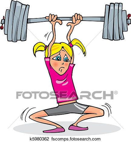 433x470 Clipart Of Girl Lifting Heavy Weight K5980362