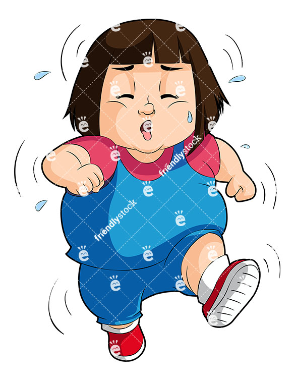 585x755 Overweight Little Girl Sweating As She Runs Vector Clipart