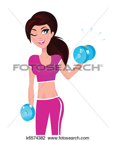 387x470 Girl Exercising Clipart