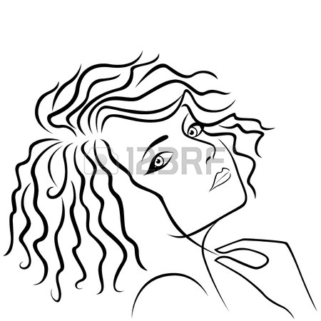 450x450 Elegant Young Girl In A Hat, Hand Drawing Black Vector Outline
