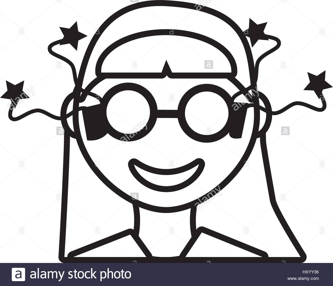 1300x1117 Face Girl Funny Glasses Outline Stock Vector Art Amp Illustration