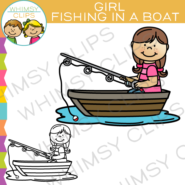 600x600 Little Girl Fishing Clip Art , Images Amp Illustrations Whimsy Clips