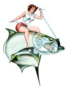 229x300 Fishing Pin Up Girls Marine Wildlife Fine Art, Custom Design