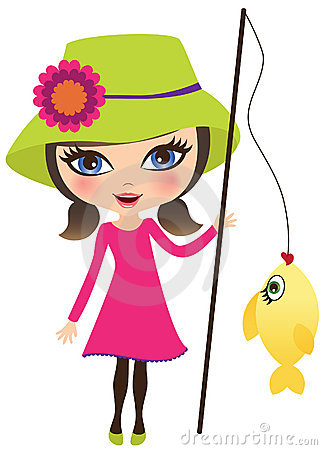 322x450 Girl Fishing Clipart