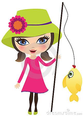 322x450 Girl Fishing Clipart