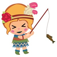 200x200 Tribal Girl Fishing Vector Image