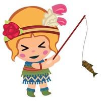 200x200 Tribal Girl Fishing Vector Image