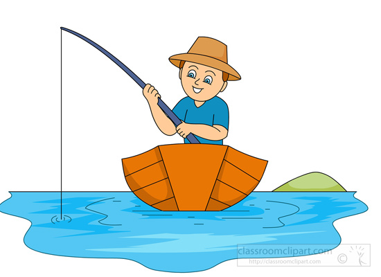 550x400 Fishing In A Boat Catching Fish Clipart